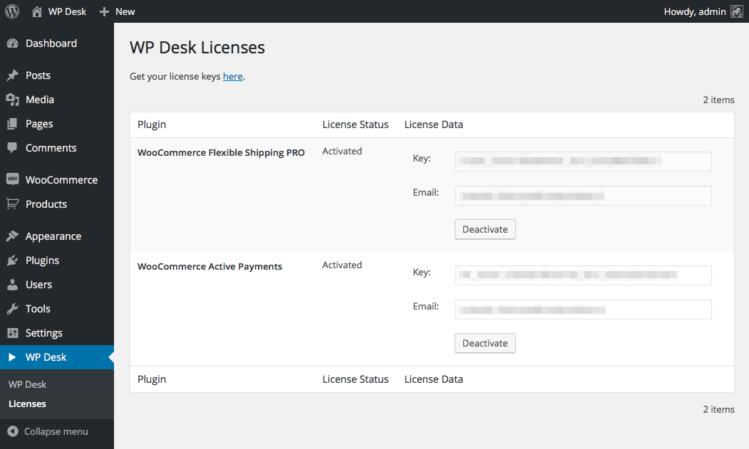 Activate WP Desk licenses