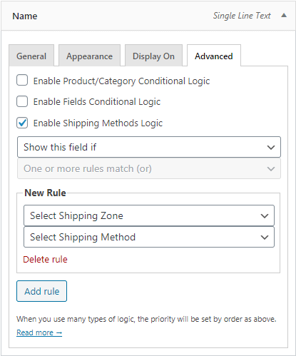 Add conditional logic rules for a field