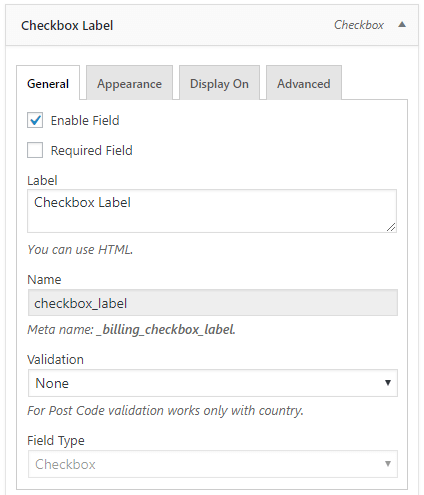 Checkbox label field configuration