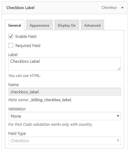 Checkbox label field configuration