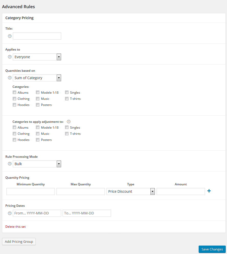 Adding Advanced Category Rules