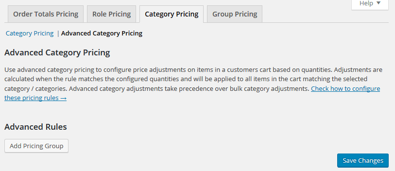 Advanced Category Pricing Settings