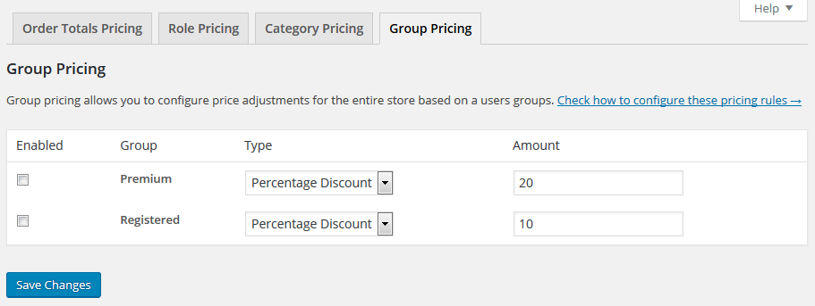 Group Pricing Example