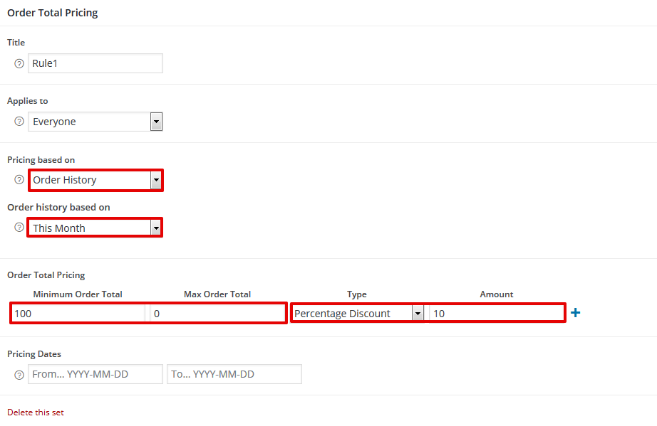 An example discount based on order history