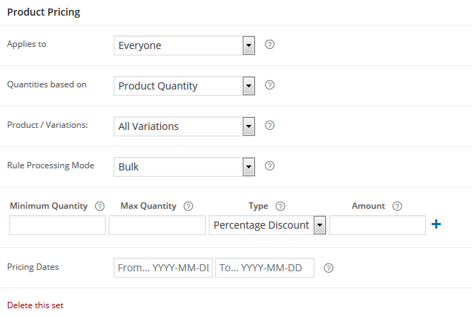 Product Pricing Settings
