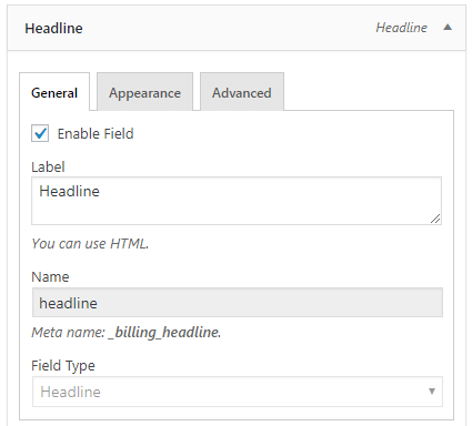 Headline field configuration