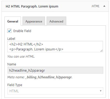 HTML field configuration