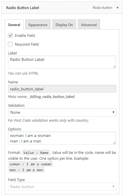 Radio button field configuration