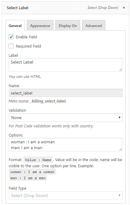 Select field configuration