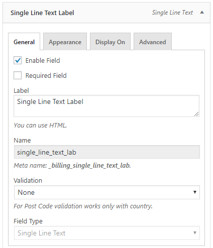 Single line text field configuration