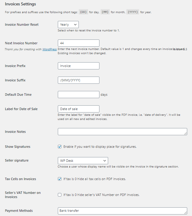 Flexible Invoices for WordPress - Invoices Settings