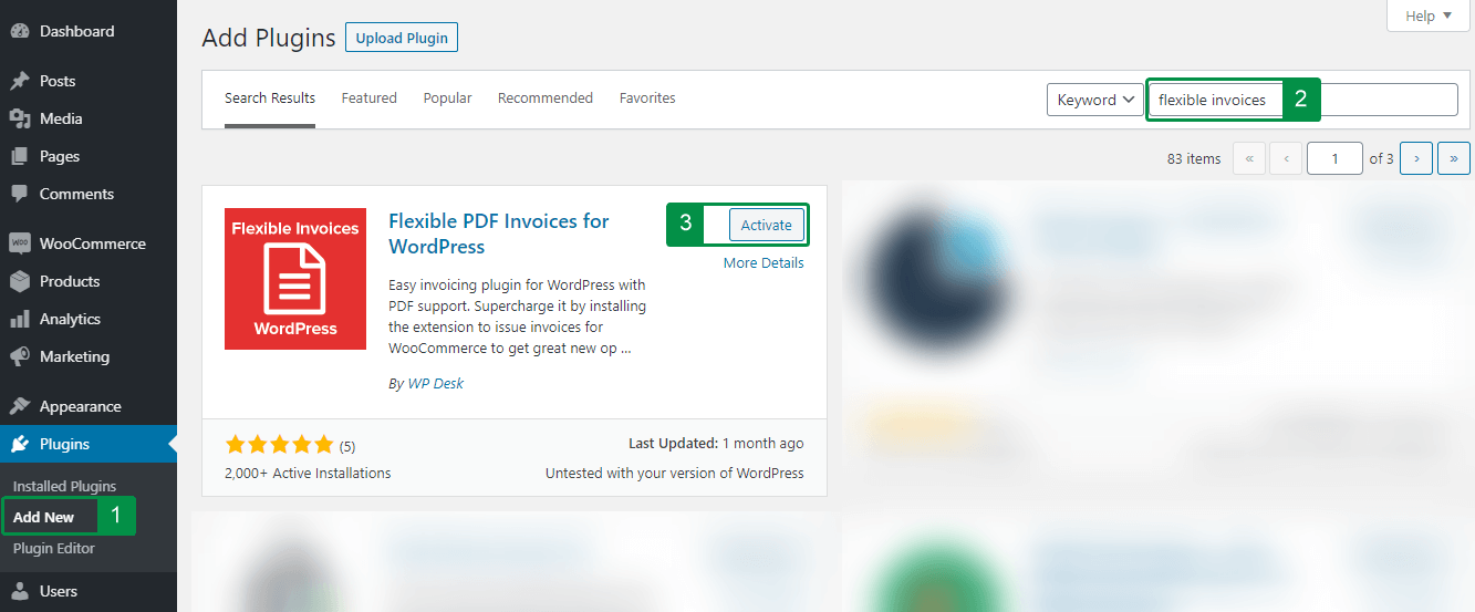 How to install Flexible PDF Invoices WordPress