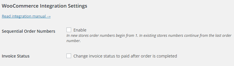 Woocommerce Invoices Settings