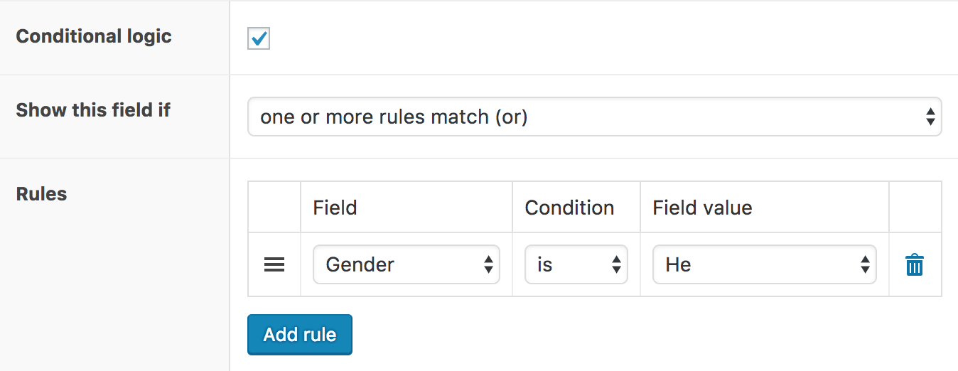 WooCommerce Flexible Product Fields – Conditional logic settings