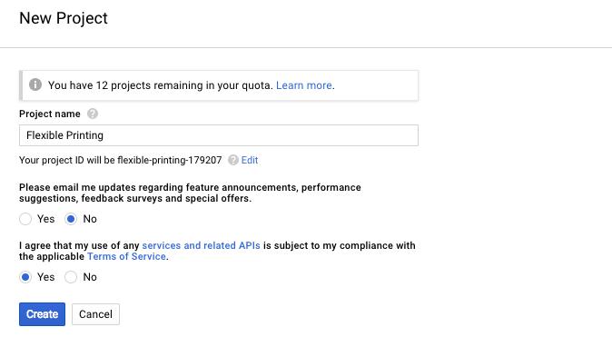 Flexible Printing WooCommerce - Google API new project