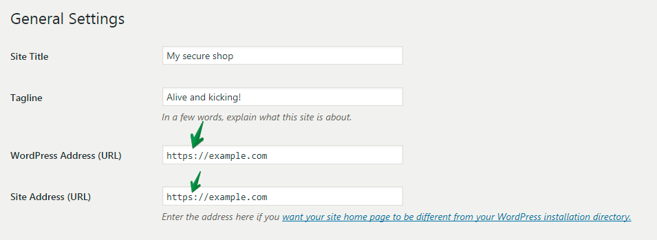 Site Address in General Settings