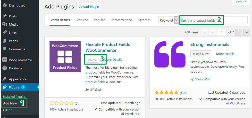 Flexible Product Fields installation screenshot