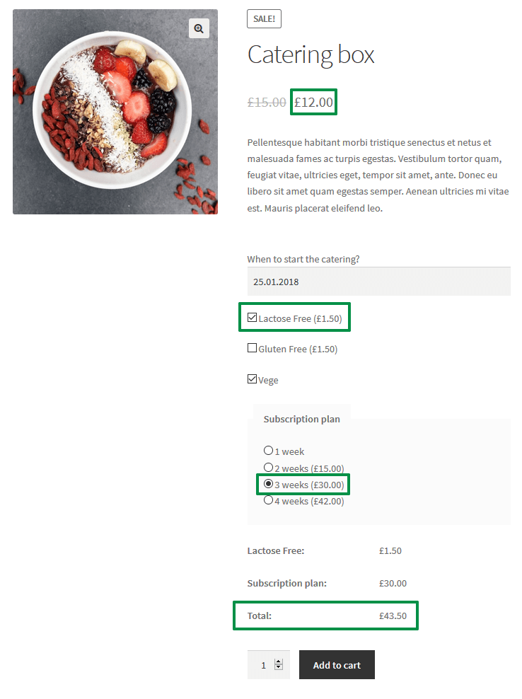 WooCommerce Catering Plugin - Product Page