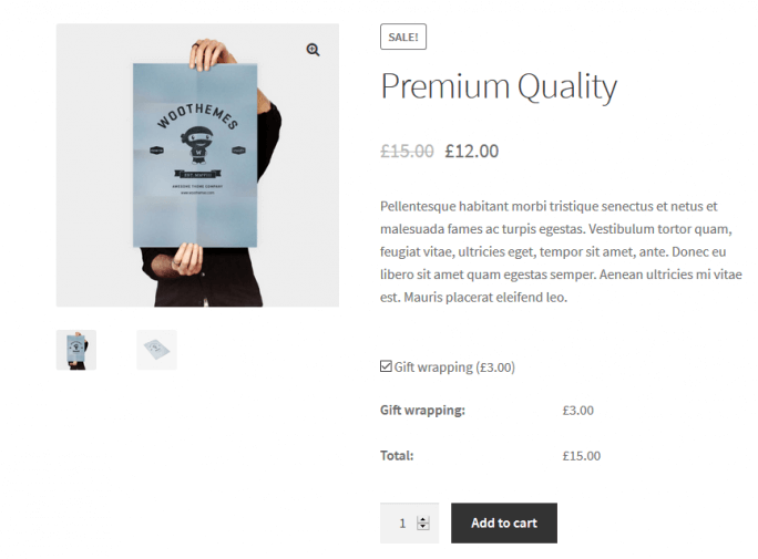 Gift wrapping in WooCommerce store - product page