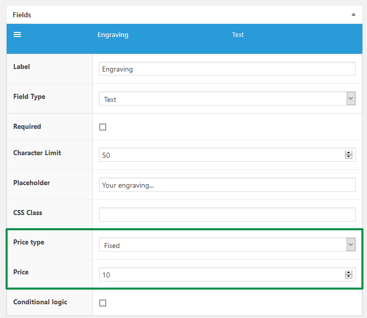 WooCommerce Product Engraving - price settings