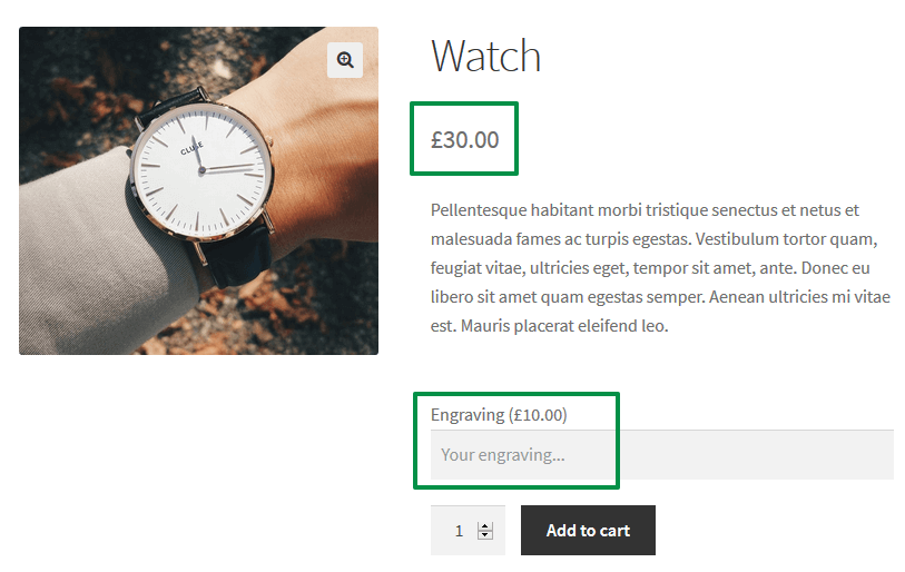 WooCommerce Product Engraving - price on the product page