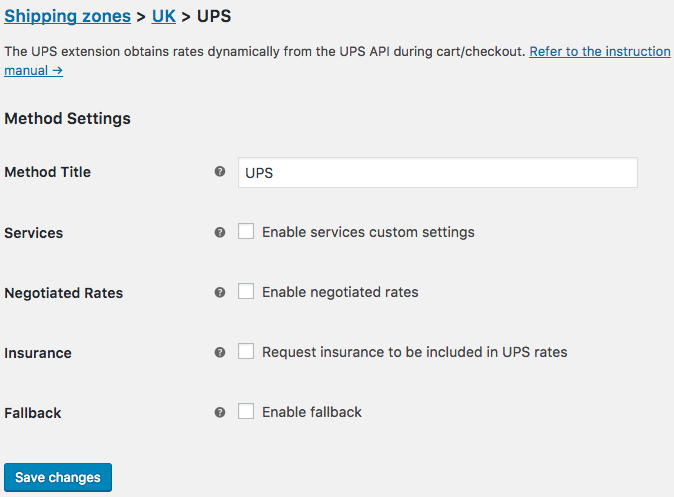 WooCommerce UPS - shipping method settings