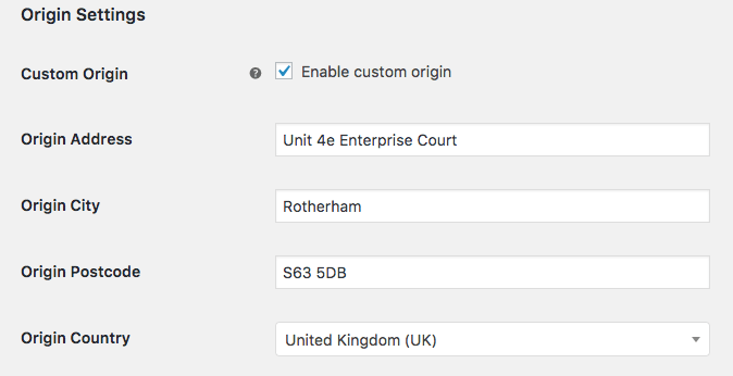 WooCommerce UPS – origin settings