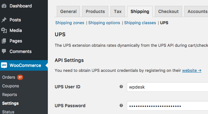 WooCommerce UPS - settings