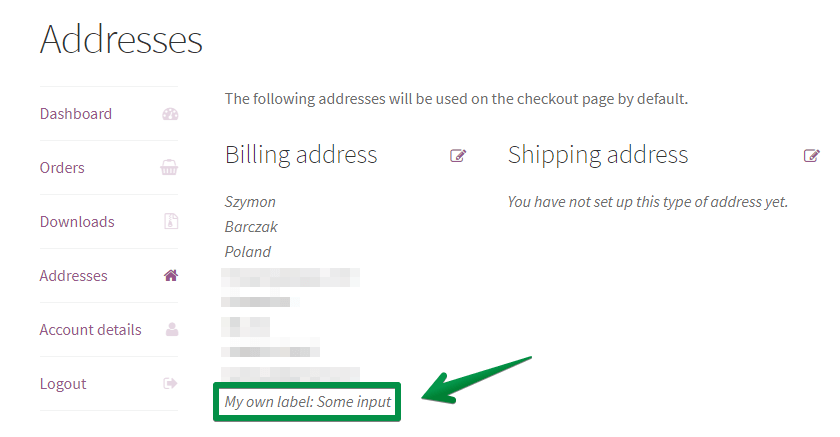 Billing address in My Account - screenshot