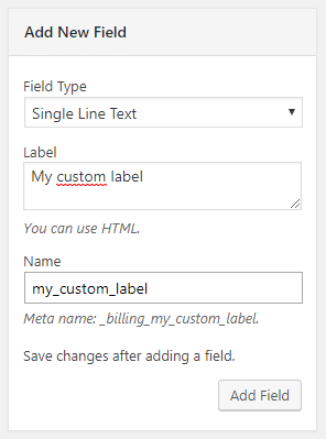 Flexible Checkout Fields - Add New Field screenshot