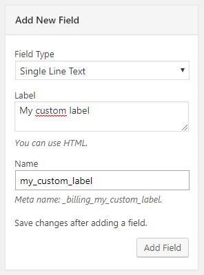 Flexible Checkout Fields - Add New Field screenshot