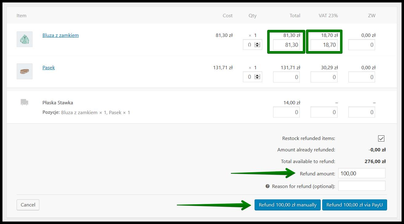 Manual correction of invoice 2