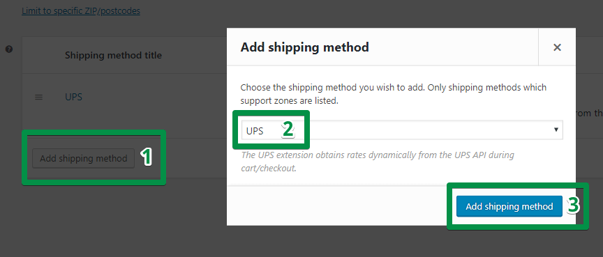 Add UPS shipping method in an 'Add shipping method' box in WooCommerce (screenshot)