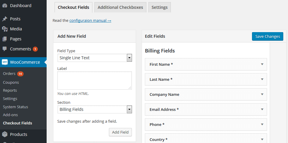 WooCommerce Checkout Fields - interface