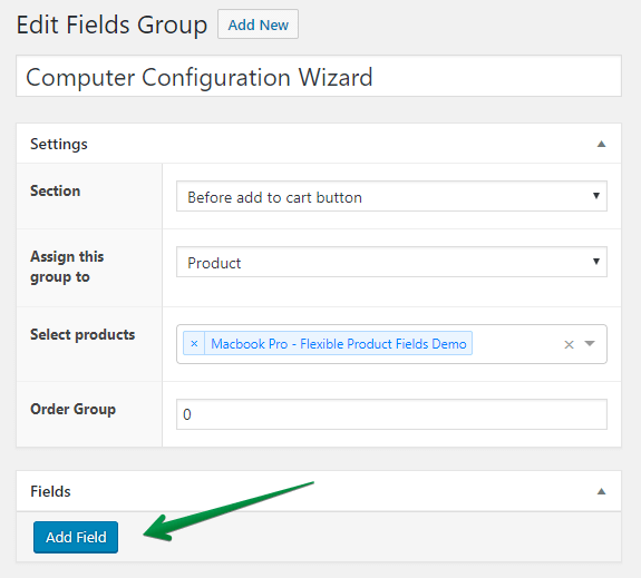 Add Field in Flexible Product Fields