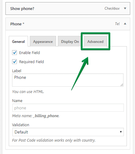 'Advanced' tab in field's settings