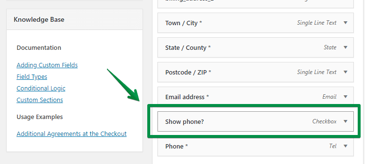 'Show phone?' field