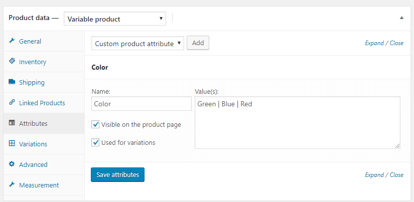 Variable product: Attributes