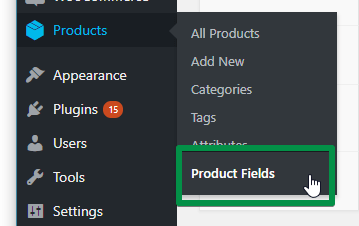 Product Fields in menu