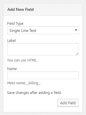 WooCommerce custom fields in checkout: Add new field