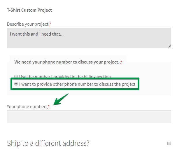 Custom project: phone number field