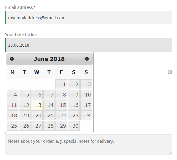 Date Picker Selected in Checkout
