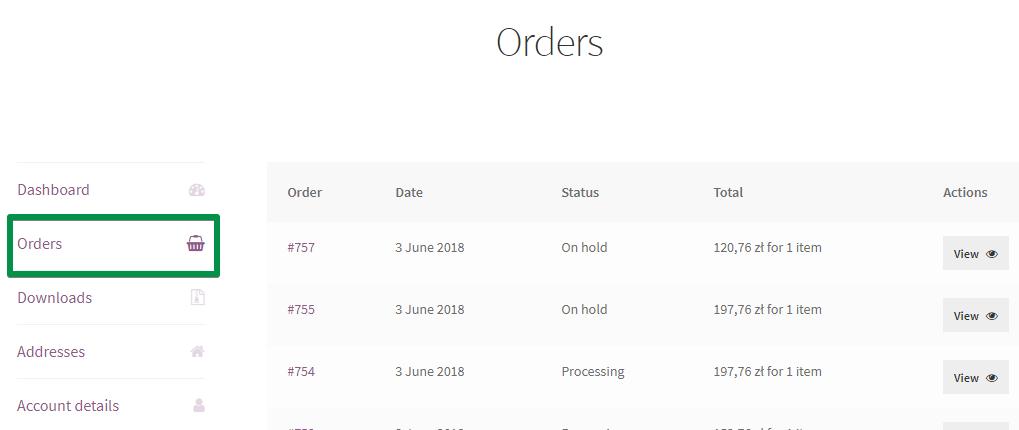 My Account: Orders