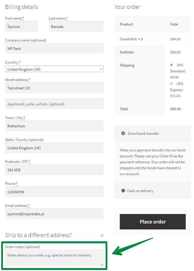 WooCommerce checkoutnotes