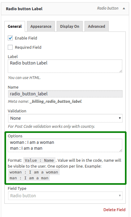 Radio Button Settings