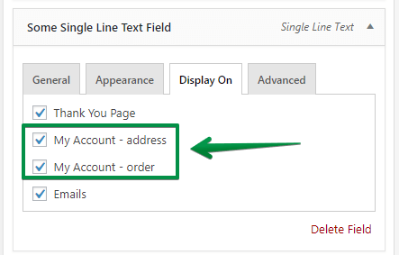 WooCommerce my account custom fields: Display On Settings