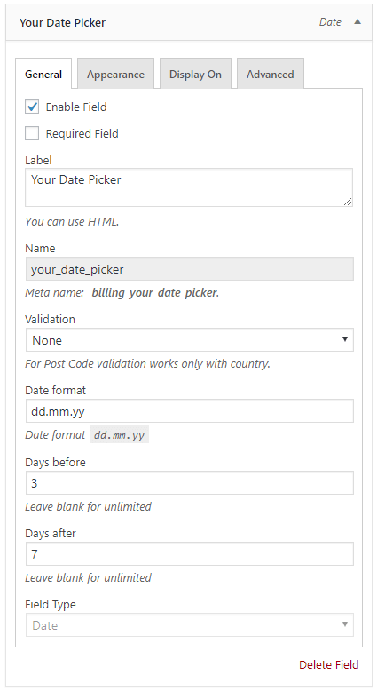 WooCommerce Checkout Datepicker: Edit field