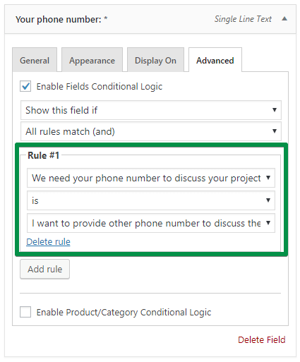 Conditional logic for Your Phone Number field