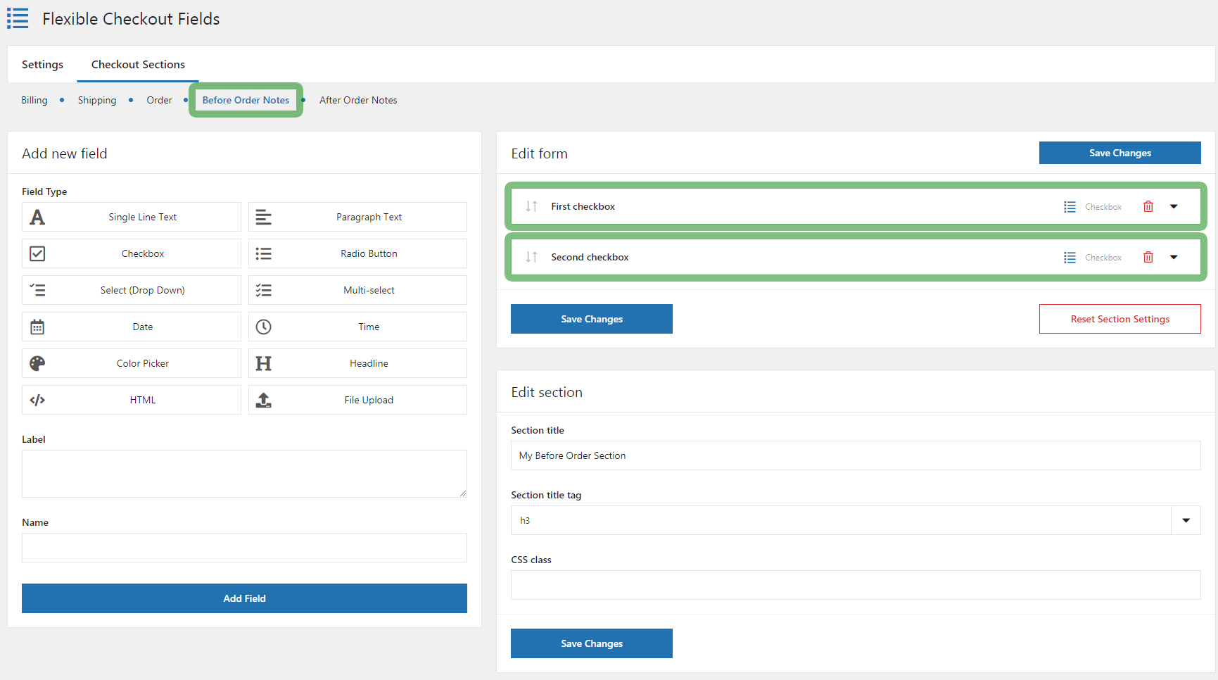 Before Order Notes - settings