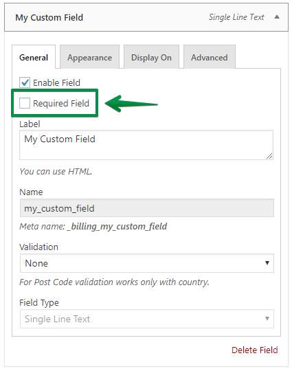 Required field settings